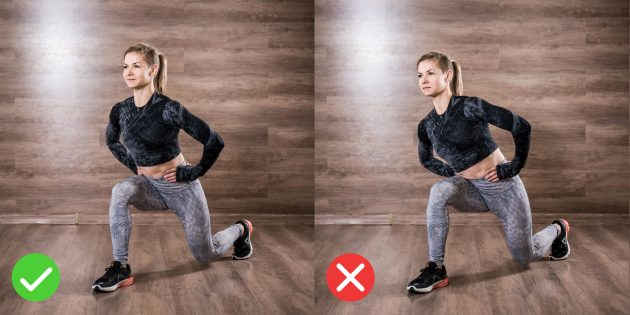 How to make lunges: do not sway from side to side