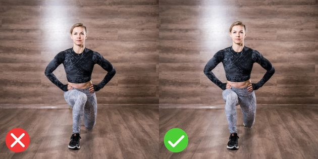 Lunges: don't let your knee curl inward