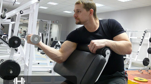 Scott's Bench is a famous biceps muscle trainer. It effectively pumps the lower and side of the hands.